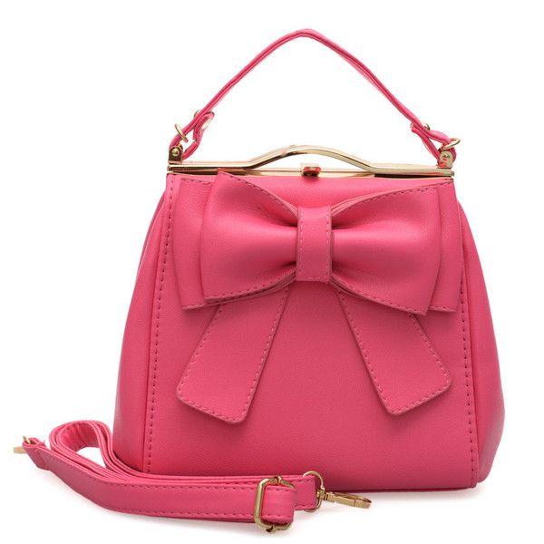 VK Beautiful Tote Handbag With Big Bowknot - Fushia