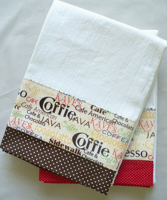 """Coffee mixed with some chocolate...mmmm good...any way you say it! Great kitchen towels for your modern or vintage kitchen café decor! Colors are red, brown, green, yellow and blue on a cream background. Aunt Martha's premium white flour sack towel with designer cotton fabric accent. Designer cotton fabric measures 4.5"""" on one side; towel is hemmed on three sides with hanger loop in corner. 100% cotton. Aunt Martha's premium flour sack towel is soft, absorbent, lint-free and thicker than the…"""