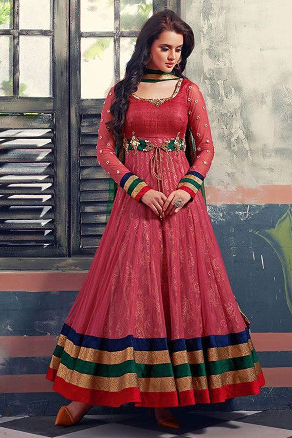 Carrot Red Color Net & Georgette Fabric Anarkali Suit