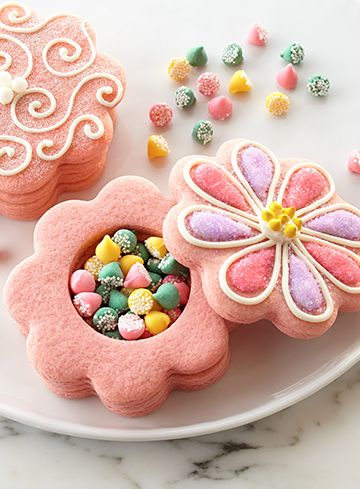 Jelly beans are hidden somewhere that the Easter Bunny would envy—in the middle of these buttery cookies.