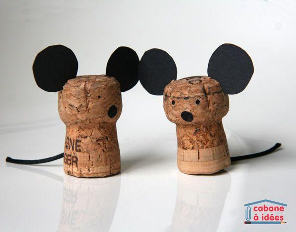 Petites souris, à partir de bouchons de champagne