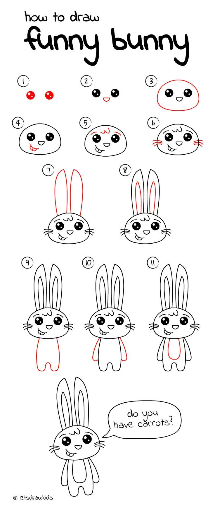 How to draw Funny Bunny. Easy drawing, step by step