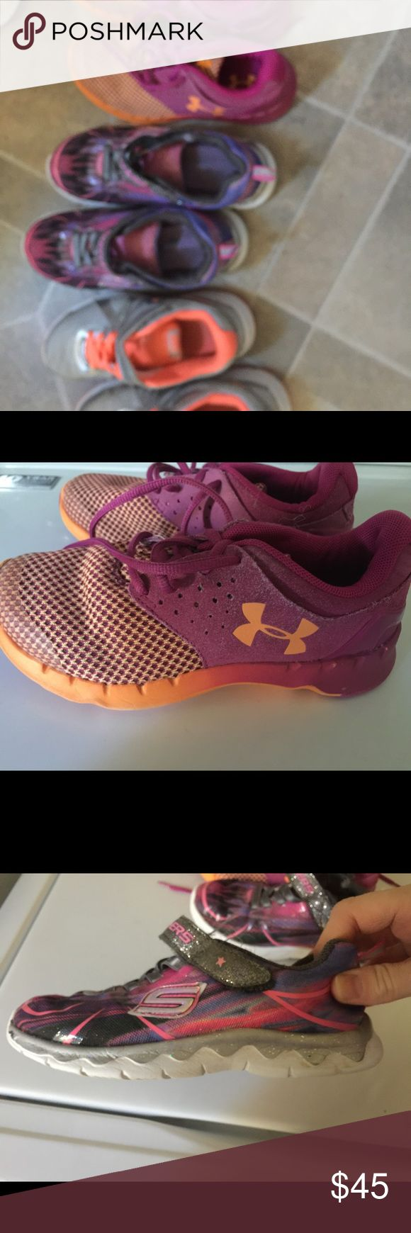 Lot is little girls tennis shoes Under Armour size 1, Sketchers size 13.5 and Nike size 12.5. All good condition. Sketchers are memory foam. Under Armour Shoes Sneakers