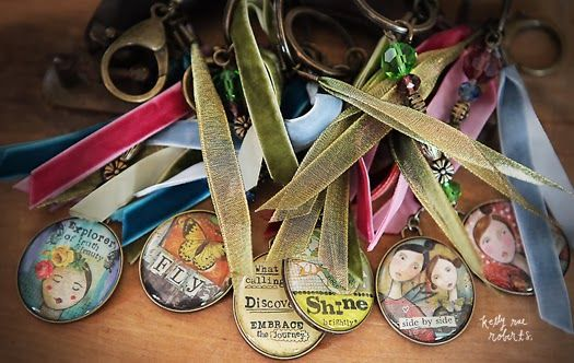 Can I just say how highly delightful these key chains are! Love the double-sided medallions. Love the mix of ribbons. Love how they look clipped onto tote bags, purses, and backpacks - the tiniest bit of artful love. Collect all six, friends (perfect gifts).