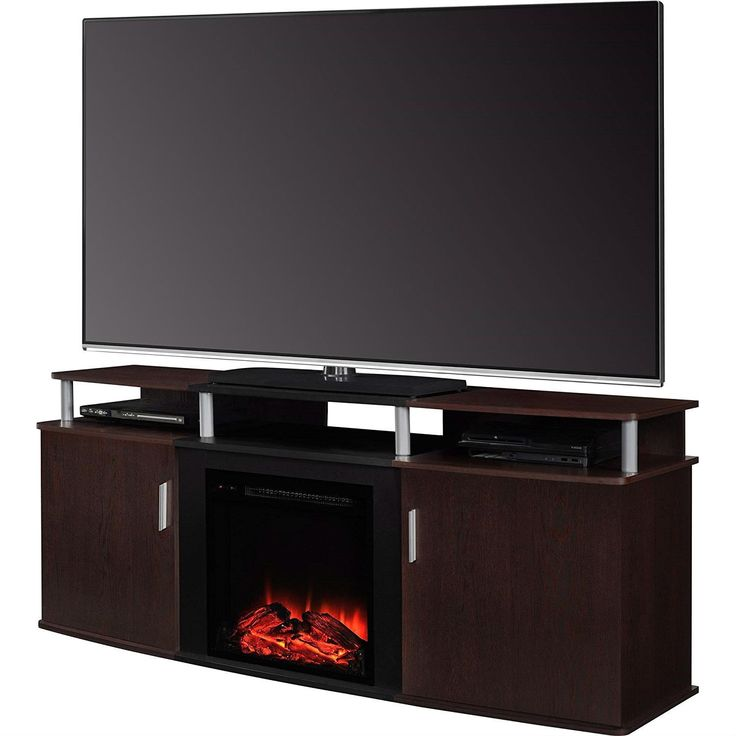 modern electric fireplace tv stand in cherry black wood finish holds up to 70 inch