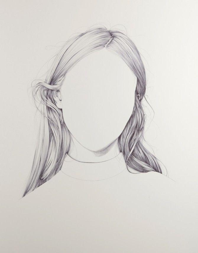 Dessin avec seulement les détails des cheveux. Il y a des parties denses qui sont grisées et des parties blanches où il n'y a rien. Ce type de dessin met en avant la partie densifiée , et elle suffit à la compréhension. Il peut être utilisé lorsque une seule partie (de ce que l'on veut dessiner) nous intéresse et que l'on a pas beaucoup de temps ou alors c'est un choix graphique.