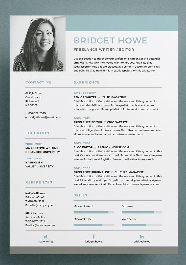 Resume / CV Template – Bridget – a professional co…