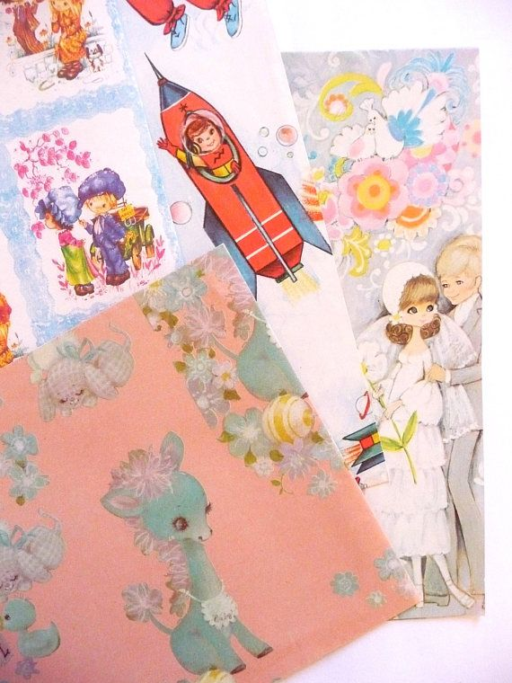 Vintage Gift Wrapping Paper 1970s Designs