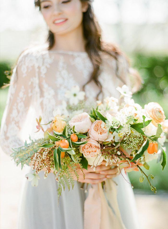 Botanical Citrus Bridal Bouquet in Pale Orange    #weddings #weddingideas #winecountry #fineartweddings #bouquet #weddingflowers #citrus