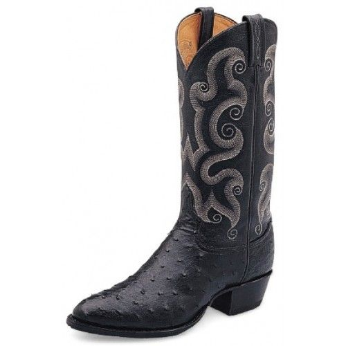 Tony Lama Men's Cowboy Boots Black Full Quill OstrichTony Lama Boots style CT833 features a very round toe. The Black Full Quill Ostrich Cowboy Boot with the heavenly soft cushion comfort insole is perfect for all day comfort and a Leather Outsole for long wear. The black color is so neutral and the soft goat tops are great on your legs! FULL QUILL OSTRICH: Considered to be one of the most regal l...