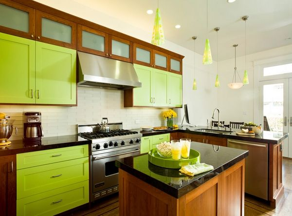 Desain Dapur Minimalis Cantik Berwarna Hijau Kabinet Dapur Dekorasi Dapur Desain Dapur Modern