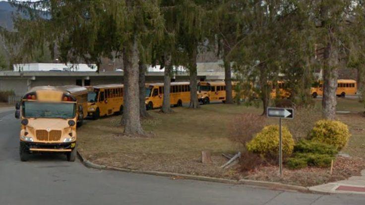 Buncombe County Schools (North Carolina Public Schools) buses 289, 297, 288, 258, 77, 265, and 141; Black Mountain Primary School - Black Mountain, North Carolina