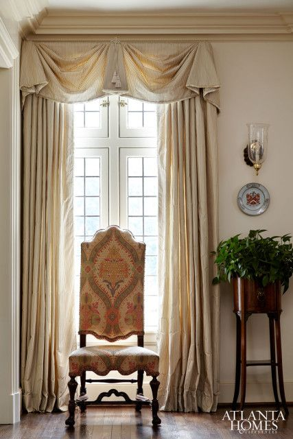 Architectural Details Crown molding, paint color, silk curtains, traditional, southern sophistication,   The Glam Pad: A Neel Reid Historic Home in Atlanta Restored
