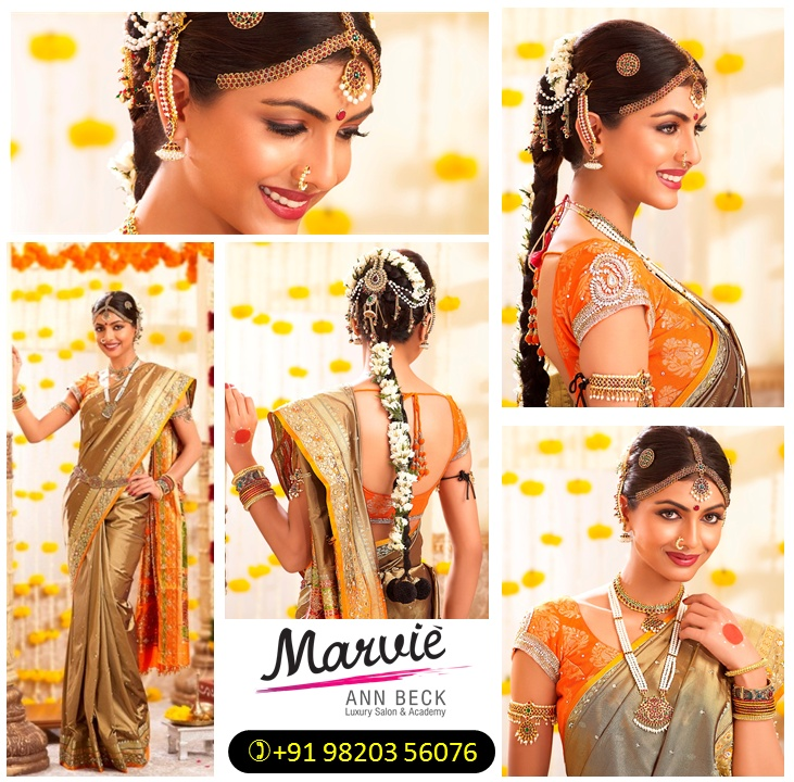 Gorgeous South Indian #Desi Bride via Namrata Soni's http://www.marvieannbeck.com/ Salon Mumbai