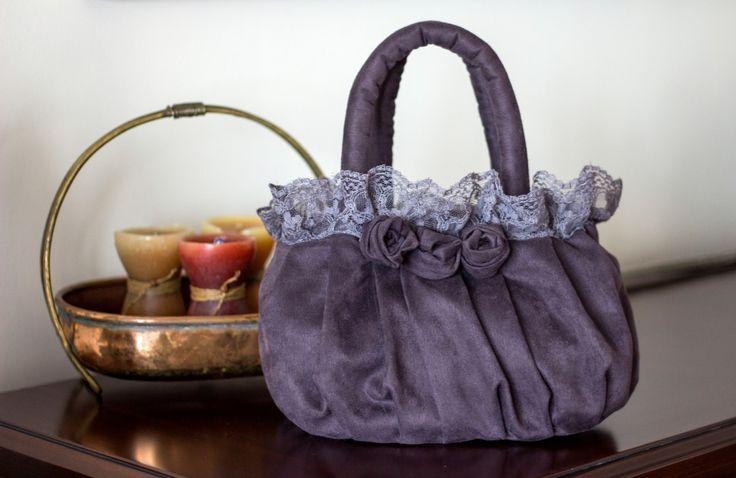 Kumaş çanta,fabric bag.Mor Dantel Canta K1601