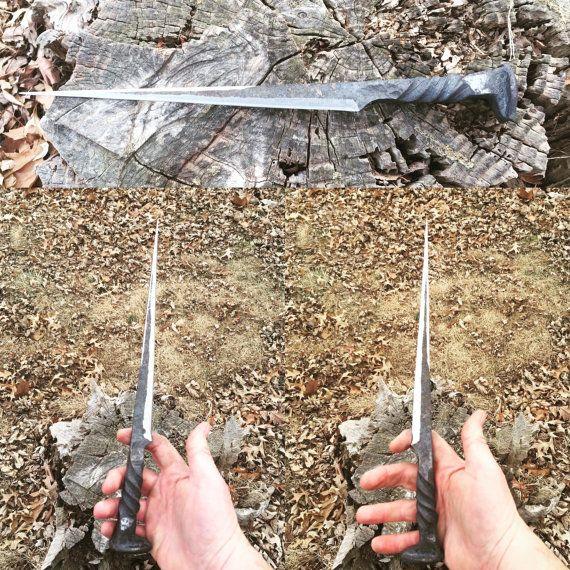 Railroad spike knife, dagger, stiletto, forged knife, blacksmith