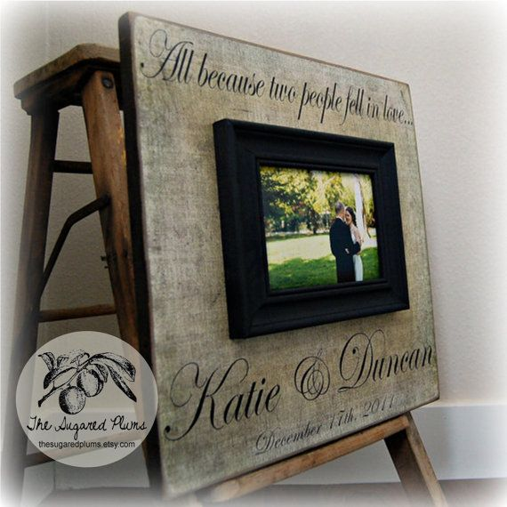 picture frame quote picture frame wedding gift 16x16 all because two anniversary love shower - Wedding Picture Frames