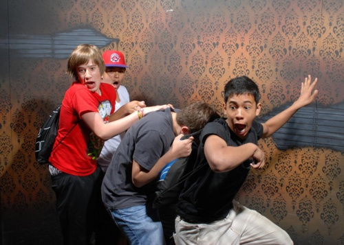 Tough guys in haunted house