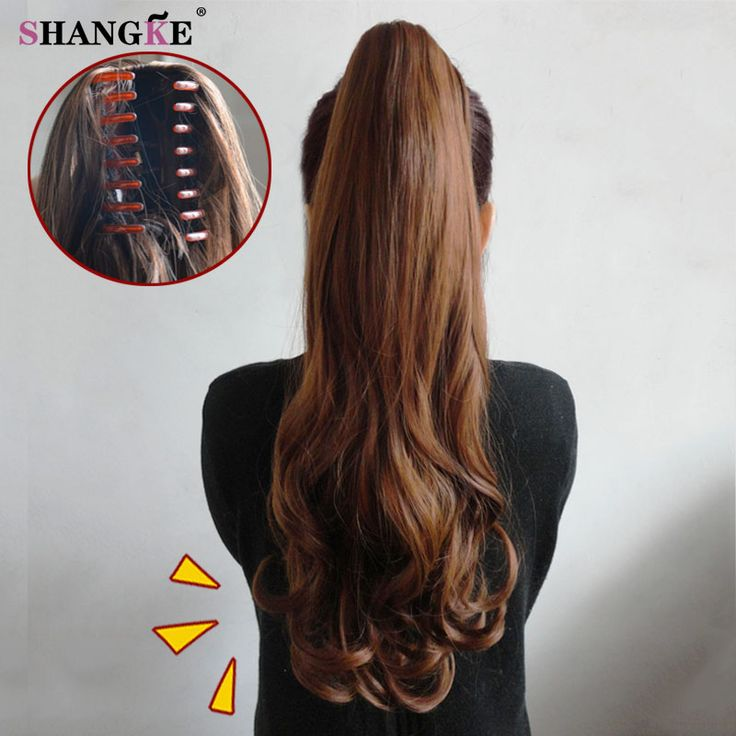 Clip In Ponytail On Sale At Reasonable Prices Buy SHANGKE HAIR Synthetic Wowen Wavy Claw PonyTail Hair Extension Heat Resistant Fake