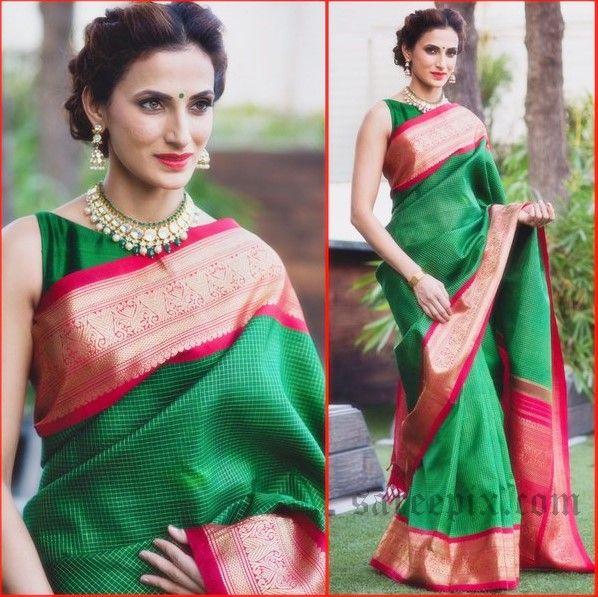 """Hyderabad fashion designer Shilpa reddy sarees at """"Gudi Sambaralu"""" event 2016. Shilpa reddy in brown silk saree, green Kanchipuram silk saree photos."""