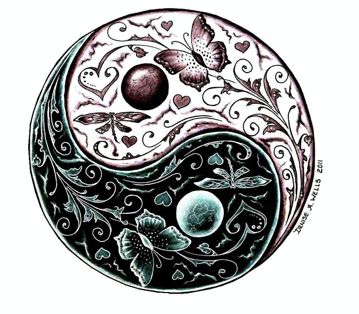 Perfect Balance Yin Yang Tattoo Design by Denise A. Wells