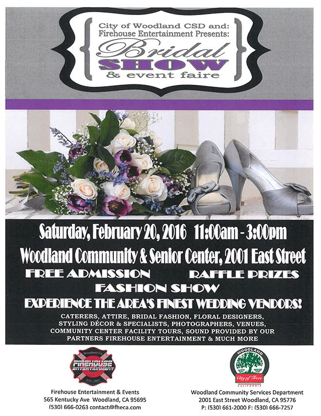 Who's planning a wedding? Join us for the Woodland Bridal Show and Event Faire, presented by the City of Woodland CSD and Firehouse Entertainment & Event Rentals, on February 20th from 11 a.m. - 3 p.m. at The Woodland Community Center!  Visit us at this event for your FREE copy of Real Weddings Magazine and enter to win $100 in wedding swag from our booth!  Visit www.realweddingsmag.com for more  #WoodlandWeddingEvent #WoodlandBridalShowAndEventFaire #SacramentoWeddings #RealWeddingsMag