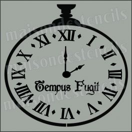Clock Roman Numerals Tempus Fugit 12x12 Stencil  Translation from Latin to English is Time Flees