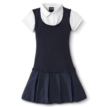French Toast® Girls' School Uniform Short-Sleeve 2-Fer Pleated Dress $14.99: