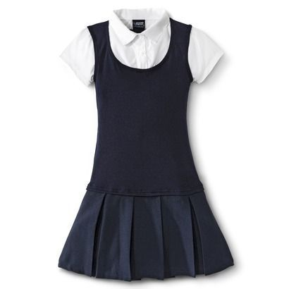 French Toast® Girls' School Uniform Short-Sleeve 2-Fer Pleated Dress $14.99: