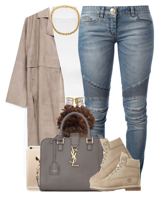 """Balmain Jeans. ✨"" by livelifefreelyy ❤ liked on Polyvore featuring WearAll, Zara, Balmain, Yves Saint Laurent and Timberland"