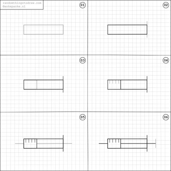 how to draw a syringe step by step