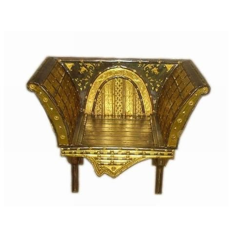 Regal Wood And Brass Golden Single Seater Sofa Chair, Small - FOLKBRIDGE.COM   Buy Gifts. Indian Handicrafts. Home Decorations.