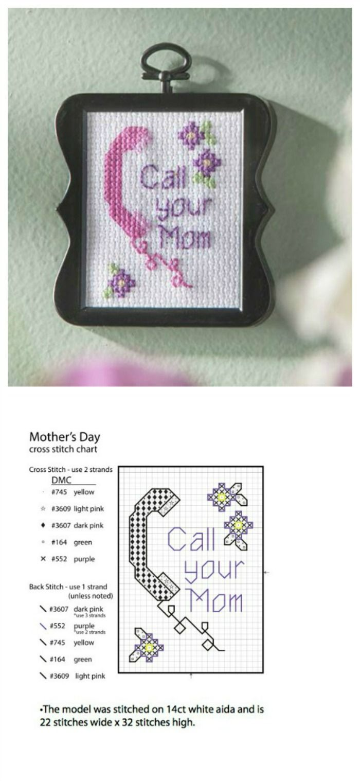 """Download this cute free cross stitch pattern! And who wouldn't love a reminder to """"Call Your Mom""""? From Bucilla and #plaidcrafts"""