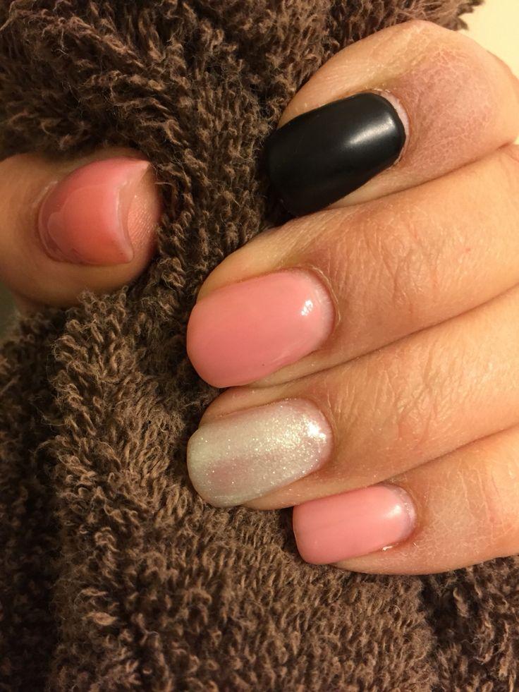 Pink, sparkle and matte black gel nails