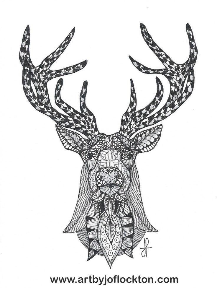 Tangled Deer Head Tangled Art By Jo Flockton Mandalas