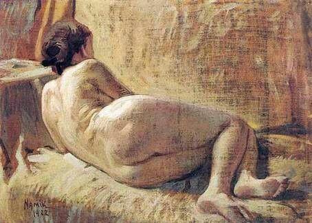 Namık İsmail: Çıplak, (1922). Tuval uzerine yagliboya. 130×90 cm. Ozel koleksiyon