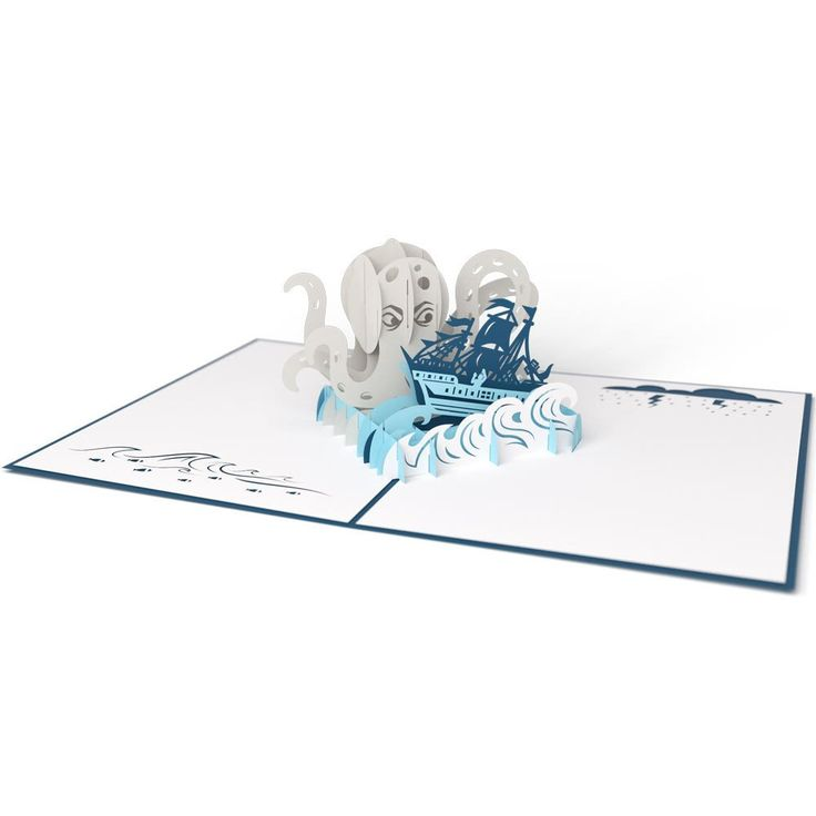 Release the Kraken birthday pop up card - thumbnail