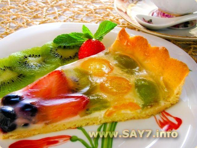 « Пирог с мясом, луком, яйцами и сыром » Фетучини с телятиной и грибами под сливочным соусом    Фруктовый торт со сливочным кремом и желе
