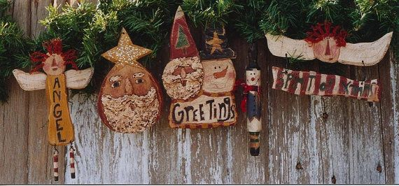 Primitive Wood Christmas Ornaments EPattern by Hickety Pickety $5.00  www.sonjasandell.com