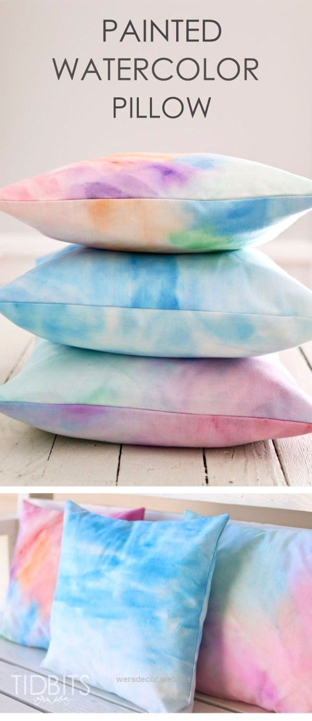 Ruby s rainbow room inspiration for kids bedroom decor at huggies - 40 Home Decor Diy Projects For Summer Page 2 Of 13 Diy Joy Diy Home Decor Projects For Summer Diy Painted Watercolor Pillow Creative Summery Ideas