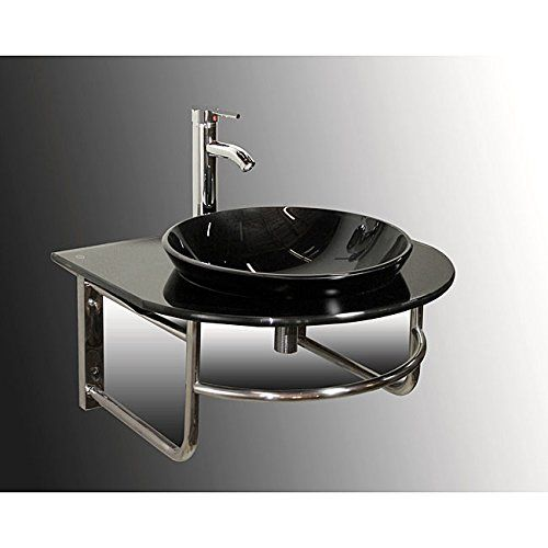 Black 24.5 In Vessel Single Sink Bathroom Vanity With Tem... Https:
