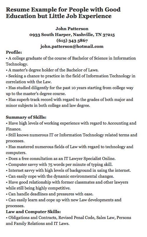 resume samples for non degree holder it