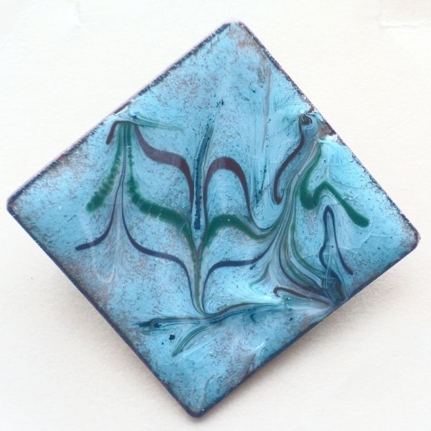 brooch -  square scrolled dark red, dark green, on turquoise over clear enamel £7.50