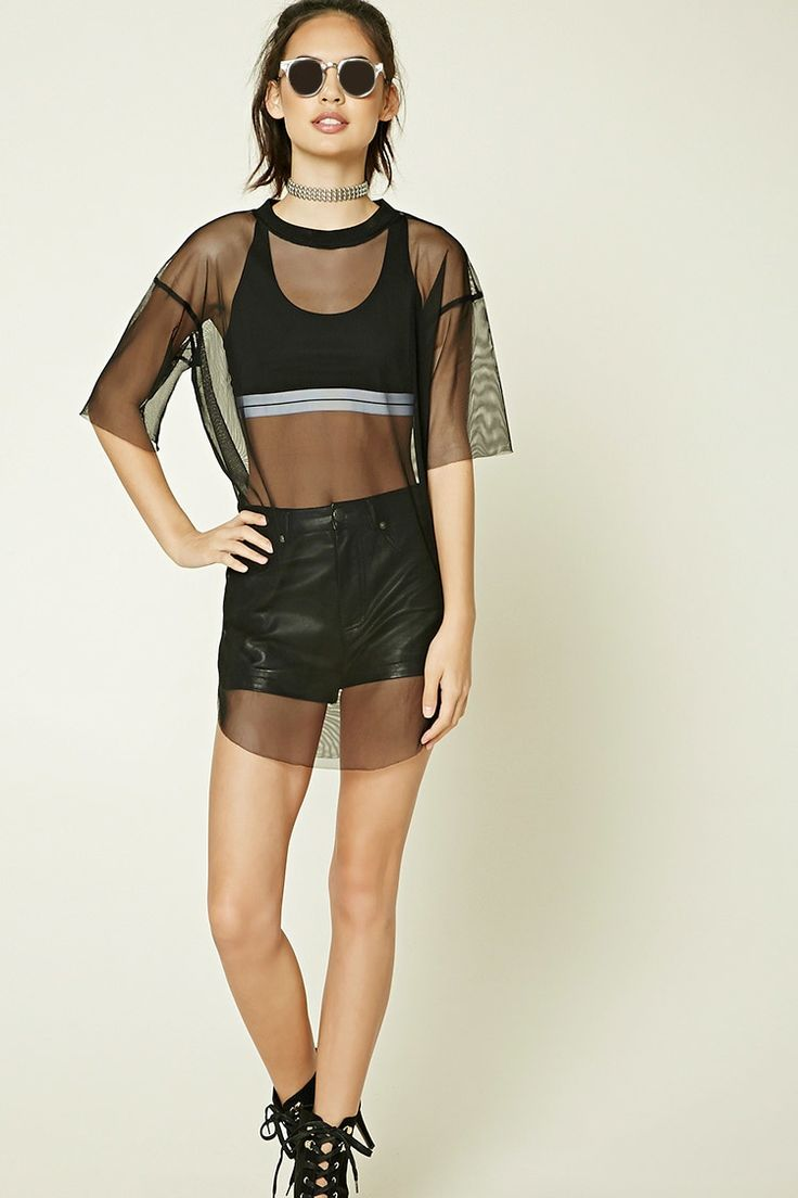A sheer mesh knit top featuring a ribbed crew neck, short sleeves, a rounded hem, and raw-cut edges.