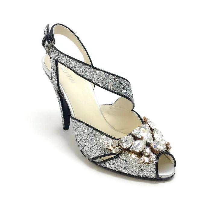 Sequin And Crystal Silver Evening Shoes by Miu Miu