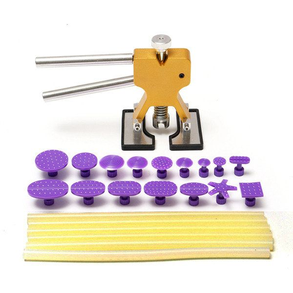 23pcs PDR Car Body Dent Lifter Paintless Glue Hail Removal Repair Tool with 16 Tabs