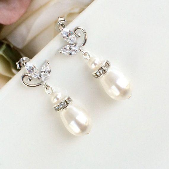 Baby shoot cubic zirconia and swarovski pearl earrings by coloursparklebridal. Bridal jewellery, wedding jewellery