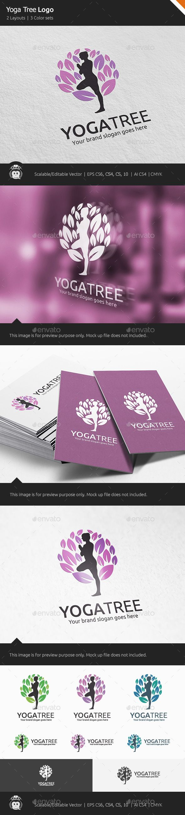 Yoga Tree Logo - Vector Abstract Logo Design Template Vector EPS, AI Illustrator. Download here: http://graphicriver.net/item/yoga-tree-logo/16728333?ref=yinkira