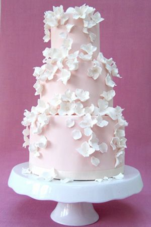 pink-falling-blossoms-wedding-cake by Rosalind Miller