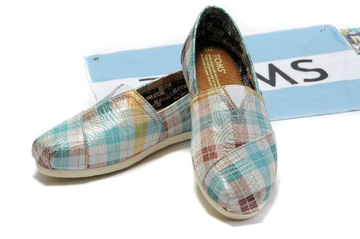 Toms Wedges Women Blue Plaid Comfortable
